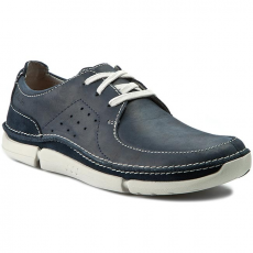 Clarks Félcipő CLARKS - Trikeyon Fly 261178367 Navy Leather