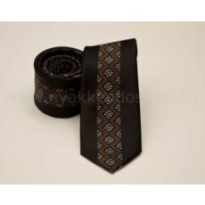 Rossini Prémium slim nyakkendõ - Barna mintás