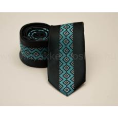 Rossini Prémium slim nyakkendõ - Fekete-tûrkíz mintás