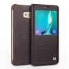 QIALINO S-view Window Lizard Samsung Galaxy S6 Edge Plus (with Original sensing Chip) oldalra nyíló aktív eredeti bőr flip tok , barna