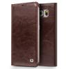 QIALINO Classic Samsung Galaxy S6 oldalra nyíló eredeti bőr flip tok, barna