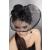 Lívia Corsetti Fekete mini kalap fekete fátyollal, tolldísszel, szatén rózsával