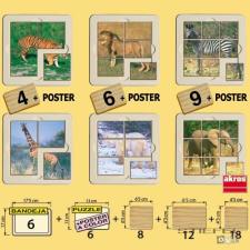 Akros Vadállatos fotópuzzle - 6 db puzzle, kirakós