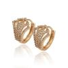 Arannyal bevont elegáns karika fülbevaló áttetsző CZ kristályokkal + AJÁNDÉK DÍSZDOBOZ (0229.)
