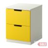 NORDLI 2-fiókos szekrény, sárga, fehér C SALE PARTNER
