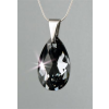 . Nyaklánc, Crystals from SWAROVSKI® kristályos cseppformájú medállal, black diamond 16mm