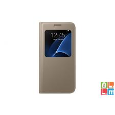 Samsung Galaxy S7 bőr s-view cover tok, Arany tok és táska