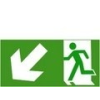 Menekülési út lépcsőn balra le (TÁBLA)