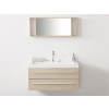 Beliani Bézs fürdoszoba bútor + mosdó + tükör - Fürdoszoba szekrény - BARCELONA