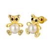 Arannyal bevont maci fülbevaló szimulált gyöngyökkel, egyedi kristályokkal + AJÁNDÉK DÍSZDOBOZ (0669.)