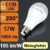 LED lámpa E27 (17Watt/200°) Körte - meleg fehér