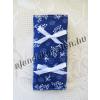 Zsebkendő tartó kékfestő motívumos, masni dísszel
