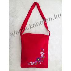 Piros táska hímzett virág motívummal, 30 cm