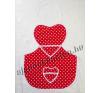 Kötény szív alakú piros pöttyös 60 cm lakástextília