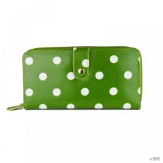 L1109D2 - Miss Lulu London Oilcloth pénztárca Polka Dot zöld