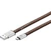 Goobay USB kábel 2.0 – micro USB csatlakozóval 20cm barna (eredeti bőr borítású)