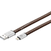 Goobay USB kábel 2.0 – Apple lightning csatlakozóval 1m barna (eredeti bőr borítású)