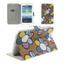 Bőrtok, Samsung Galaxy Tab 3 7.0 SM-T210 / P3200, mappa tok, virágmintás, barna