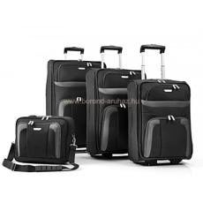 TRAVELITE ORLANDO kétkerekű-4 darabos fekete bőröndszett