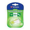 "Verbatim Pendrive, 32GB, USB 2.0, 8/2MB/sec, VERBATIM ""Swivel"", zöld"