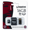 Kingston Memóriakártya, Micro SDHC, 16GB, Class 10, SD+USB adapterrel, KINGSTON