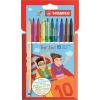"""STABILO Filctoll készlet, 0,5-2 mm, kétvégű, STABILO """"Trio 2 in 1"""", 10 különböző szín"""