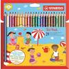 """STABILO Színes ceruza készlet, vastag, háromszögletű, hegyezővel, STABILO """"Trio"""", 24 különböző szín"""