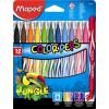 """MAPED Filctoll készlet, 2,8 mm, kimosható, MAPED """"Color\´Peps Jungle"""", 12 különböző szín"""