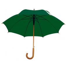 Favázas automata esernyõ, sötétzöld (Favázas automata esernyõ hajlított fa fogantyúval és fa csúccsal.)