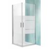 Roltechnik Tower Line TCO1 aszimmetrikus dupla nyílóajtó zuhanykabin 80x120, ezüst profillal, csíkos üveggel