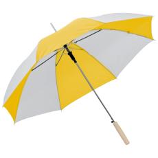 Kétszínû automata esernyõ, sárga/fehér (Kétszínû automata esernyõ, egyenes fa fogantyúval, fém)