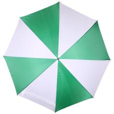 Kétszínû automata esernyõ, zöld/fehér (Kétszínû automata esernyõ, egyenes fa fogantyúval, fém)