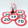 Évszámos sebességkorlátozó tábla, kétoldalas 10 cm  (50-es)