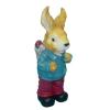 Nyúl-49 cm-húsvéti tojásokkal/kék kabátos