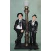 STAN és PAN-álló-110 cm-lámpával/fekete kabátos