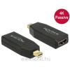 DELOCK Adapter mini Displayport 1.2-dugós csatlakozó > HDMI-csatlakozóhüvely 4K passzív fekete