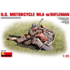MiniArt U.S.Motorcycle WLA with Rifleman katonai jármű és figura makett Miniart 35179