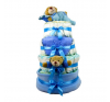 Pelenkatorta Webshop Babaváró ajándék ötlet: Kék négy emeletes pelenkatorta macikkal pelenka
