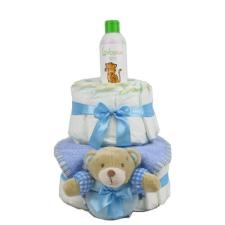 Pelenkatorta Webshop Babaváró ajándék ötlet: Pelenkatorta kisfiúnak BabyZoo babaolajjal pelenka