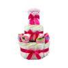 Pelenkatorta Webshop Babaváró ajándék ötlet: Pelenkatorta rózsaszín zoknikkal, pléddel a tetején