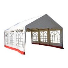Kerti sátor – fehér / piros, 4 x 6 m party kellék