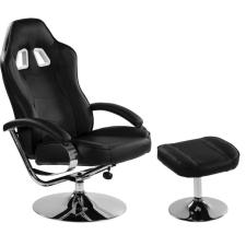 Irodai szék lábtartóval - GT RELAX RACER, króm/fekete forgószék