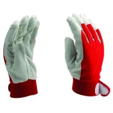 MUNKAVEDELEM Sofőrkesztyű Szürke sertés színbőr kesztyű, vörös kézháttal