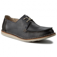 Clarks Félcipő CLARKS - Brinton Edge 261139647 Navy Leather
