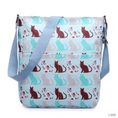 LC1644CT - Miss Lulu London Regularmattte Oilcloth szögletes táska Cat kék