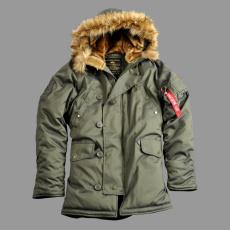 Alpha Industries Explorer valódi szőrmével - sötét zöld kabát