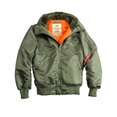 Alpha Industries MA-1 Hooded szőrme nélkül - sage green