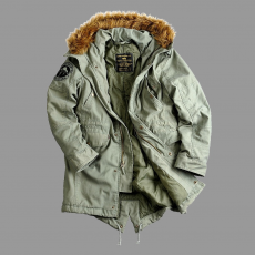 Alpha Industries Hooded Fishtail Női - olive