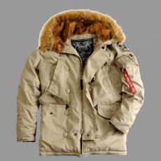 Alpha Industries Explorer valódi szőrmével - khaki kabát