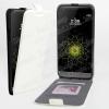 SLIM FLIP tok - FEHÉR - lefelé nyíló, rejtett mágneses, bankkártya tartó, szilikon belsõ - LG G5 (H850)
